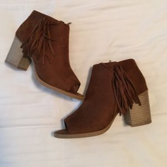878b1c80a Soda Suede Peep Toe Fringe Chunky Stacked Bootie. M_5ae693173800c57833a71f97